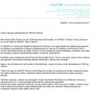 Recado especial do UNICEF para as crianças de TFC